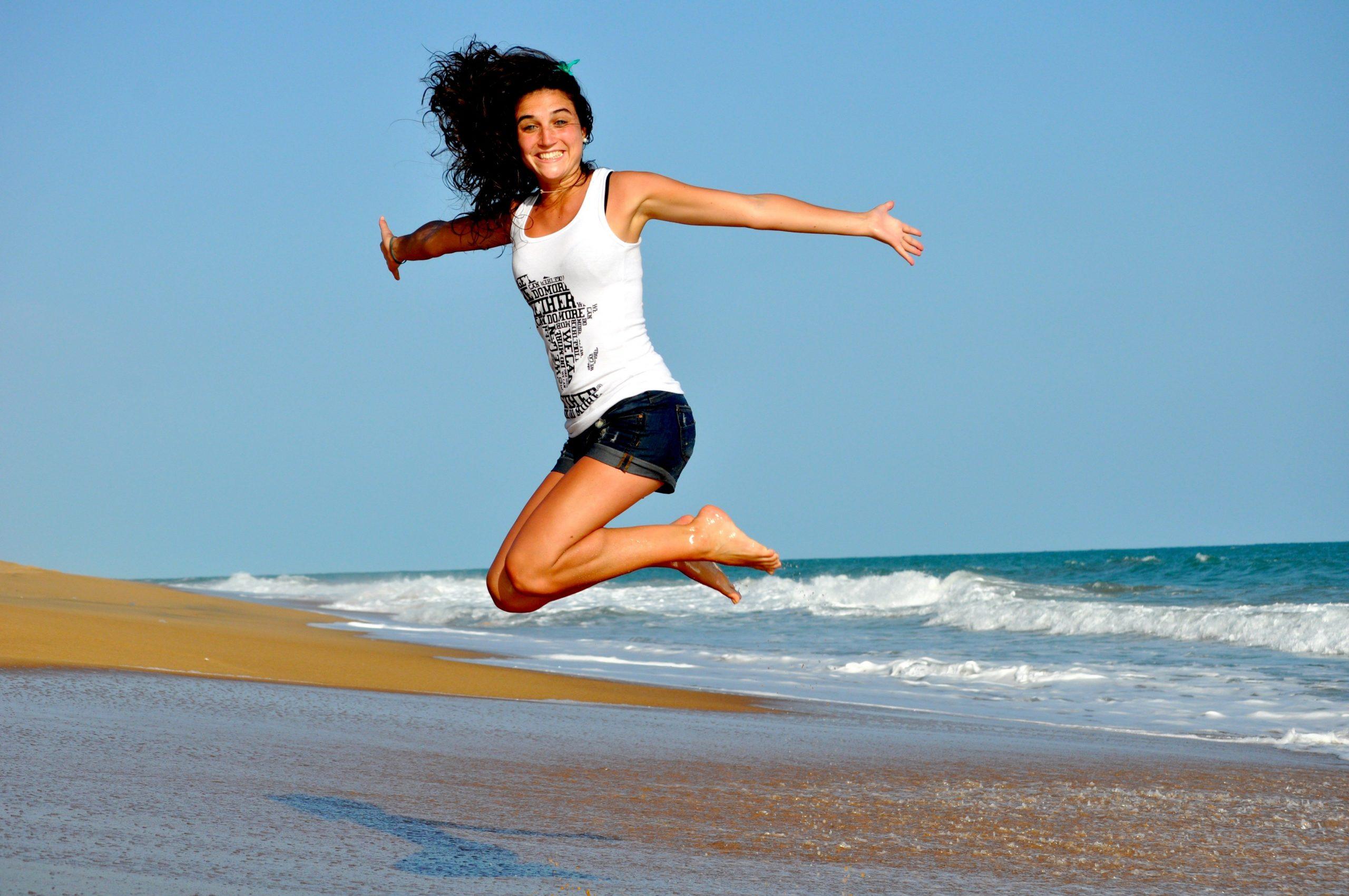woman, beach, jump